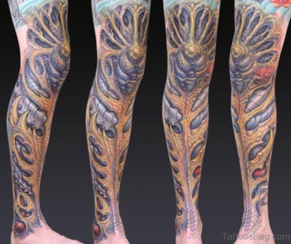 Excellent Biomechanical Tattoo Design