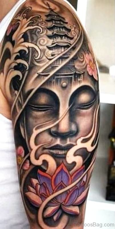 Excellent Buddha Tattoo Full Sleeve