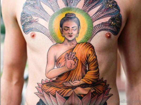Excellent Buddha Tattoo On Chest