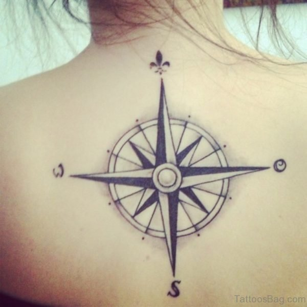 Excellent Compass Tattoo On Back