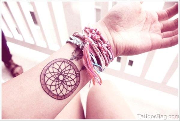 Excellent Dreamcatcher Tattoo On Wrist