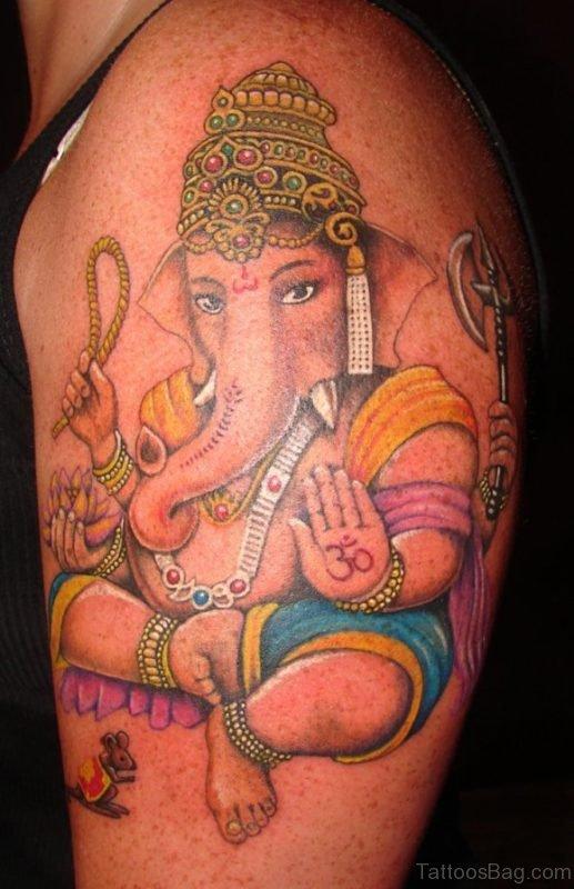 Excellent Ganesha Tattoo On Shoulder