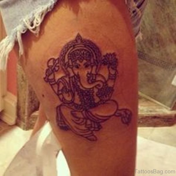 Excellent Ganesha Tattoo On Thigh