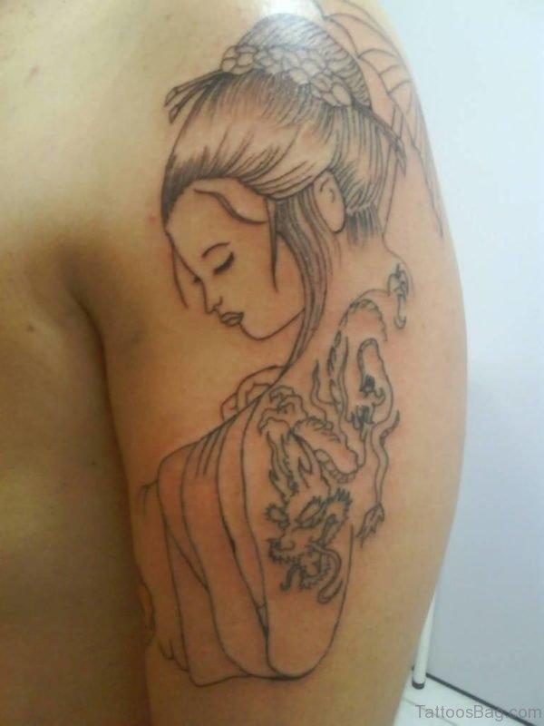 Excellent Geisha Tattoo For Girls On Left Shoulder