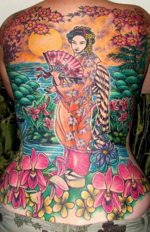 Excellent Geisha Tattoo On Back