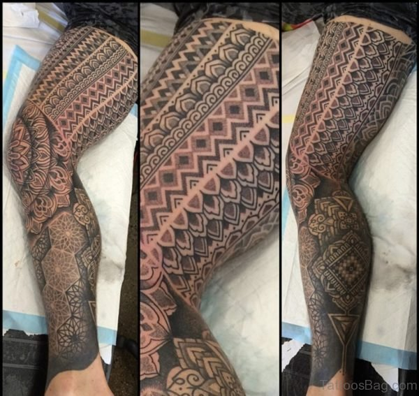 Excellent Geometric Tattoo Design On Leg