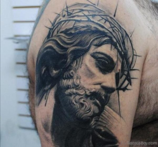 Excellent Jesus Tattoo On Shoulder