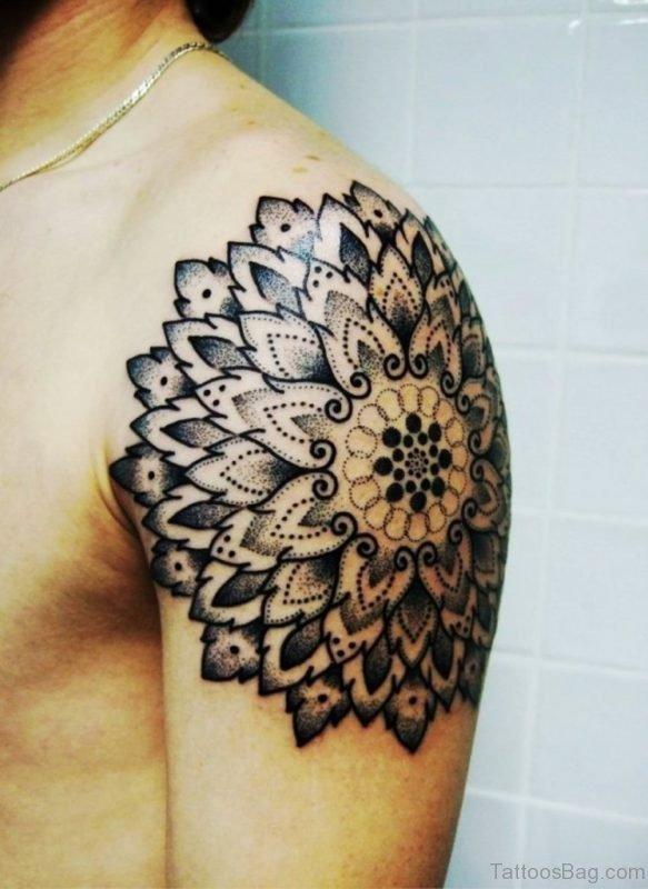 Excellent Mandala Tattoo On Shoulder