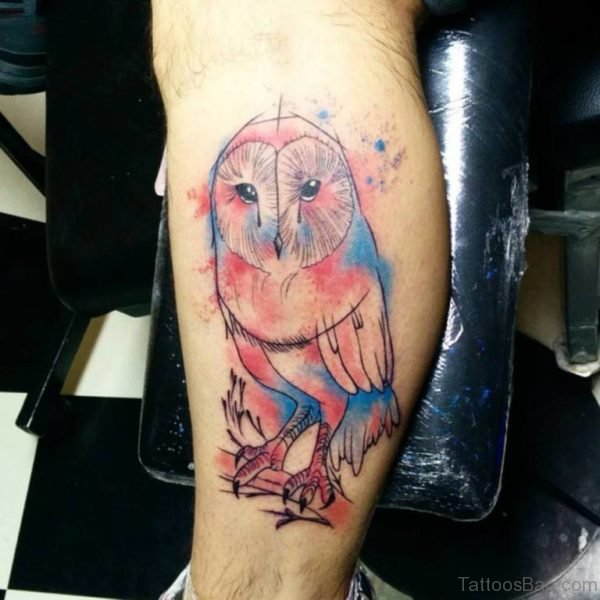 Excellent Owl Tattoo On Leg