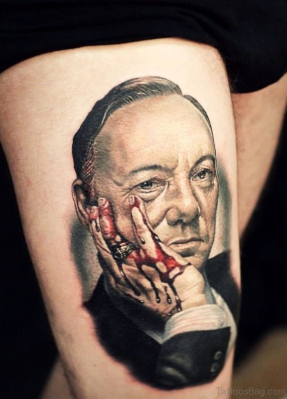 Excellent Portrait Tattoo For Thigh