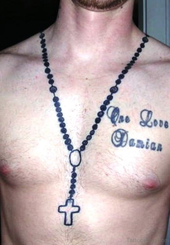 Excellent Rosary Tattoo On Chest