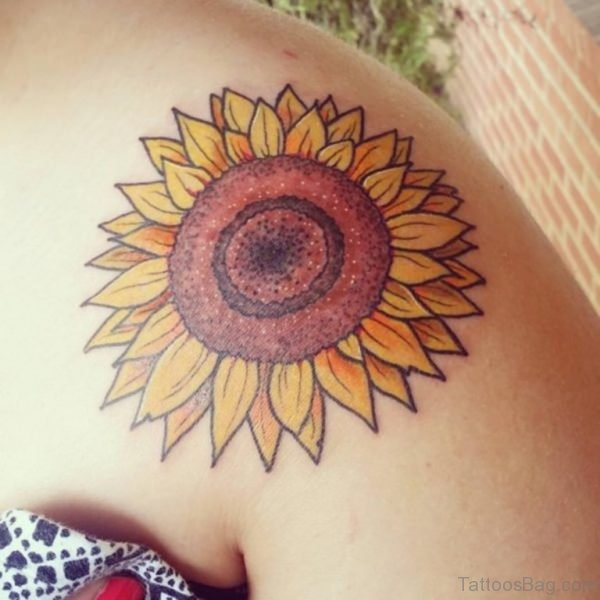Excellent Sunflower Tattoo On Shoulder