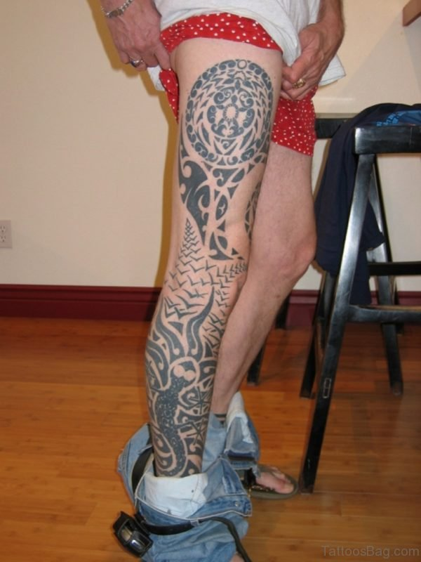 Excellent Tribal Leg Tattoo