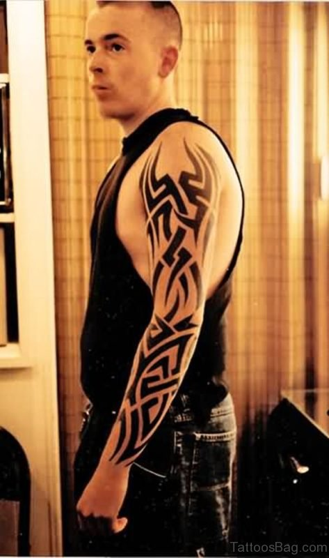 Excellent Tribal Tattoo On Full Sleeve