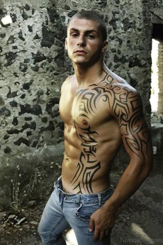 Excellent Tribal Tattoo On Rib