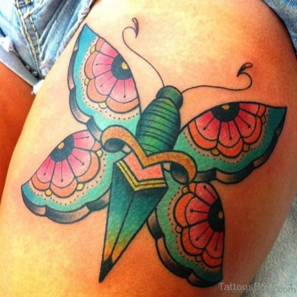 Exotic Butterfly Tattoo On Thigh