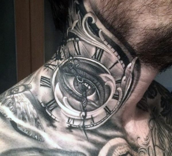 Exploding Clock Neck Tattoo