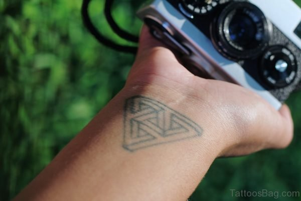 Exquisite Triangle Tattoo On Wrist
