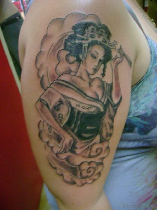Extreme Geisha Tattoo On Shoulder