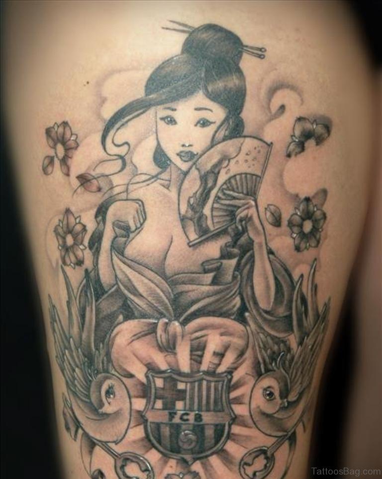42 impressive geisha tattoos for thigh for Grey tattoo ink