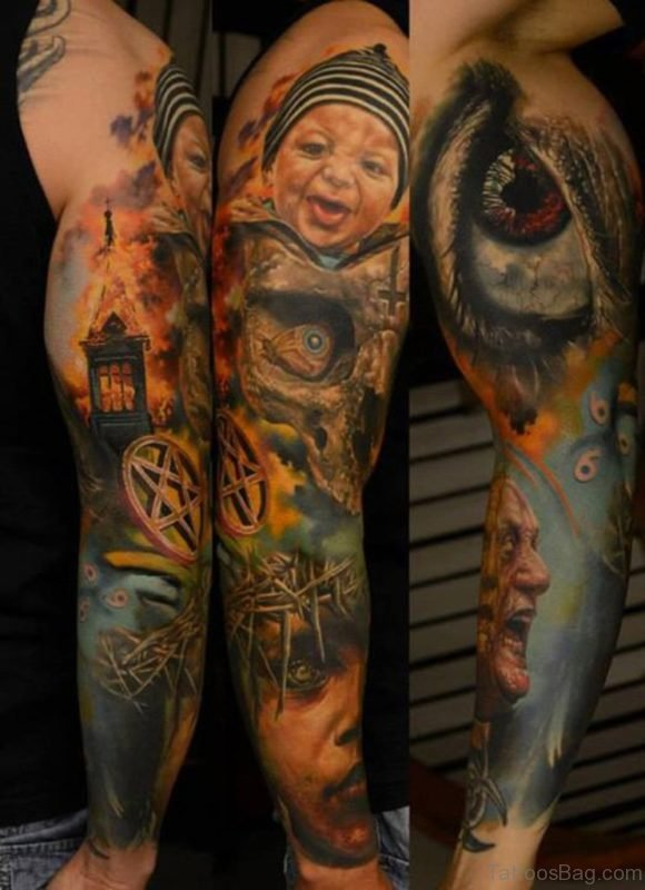 Eye And Baby Tattoo On Full Sleeve Tattoo