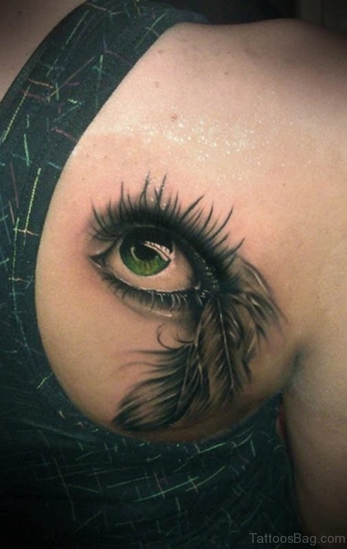 Eye And Feather Tattoo