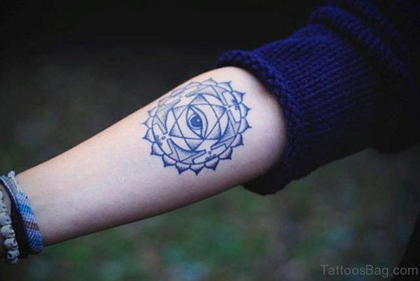 Eye And Mandala Tattoo On Arm