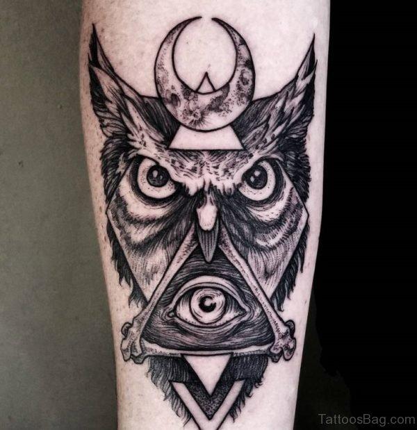 Eye And Owl Tattoo