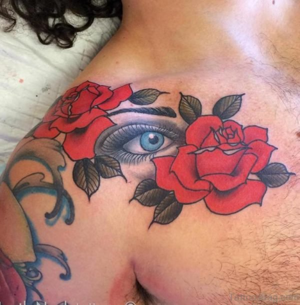 Eye And Rose Tattoo