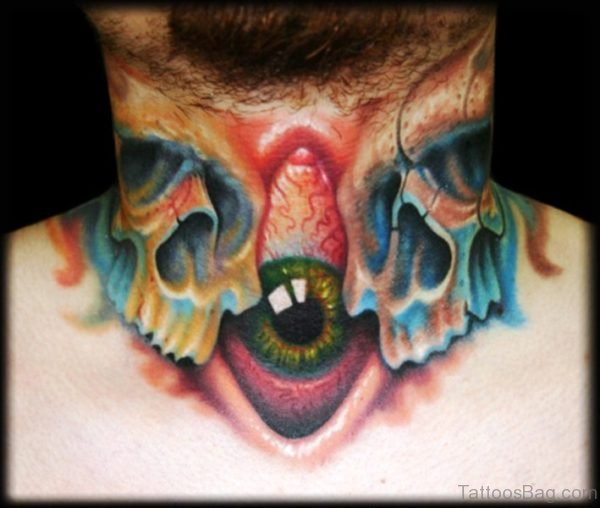 Eye And Skull Tattoo On Front Neck