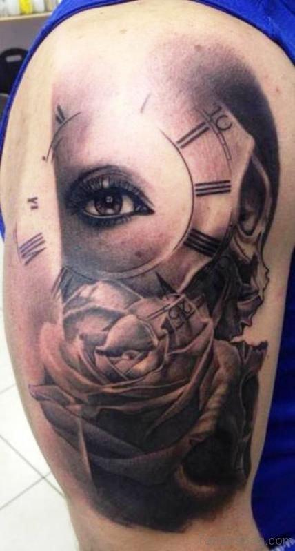 Eye Clock Shoulder Tattoo
