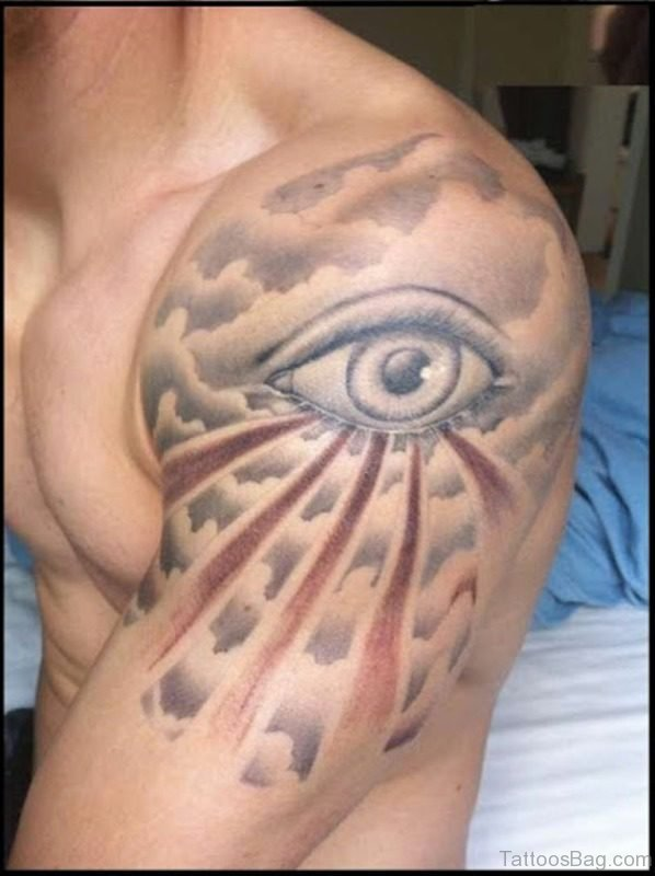 Eye Cloud Tattoo Design
