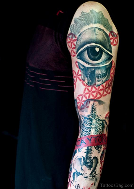 Eye Tattoo On Full Sleeve