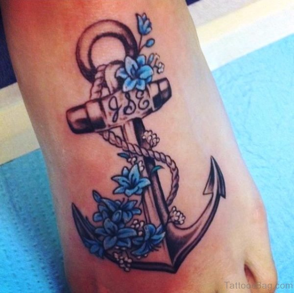 Fabulous Anchor Tattoo On Foot
