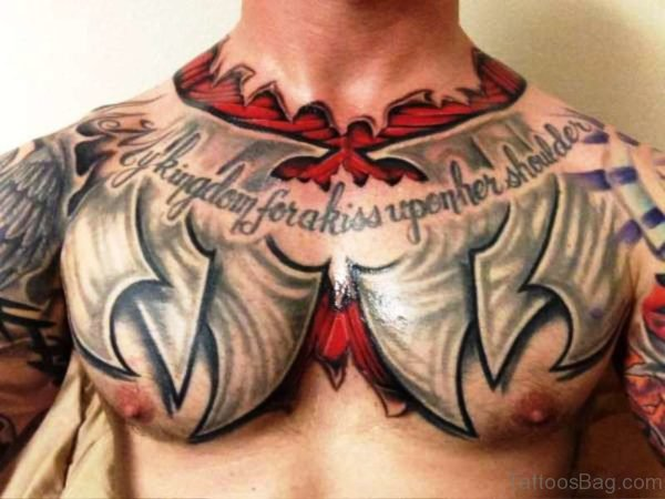 Fabulous Armour Tattoo On Chest