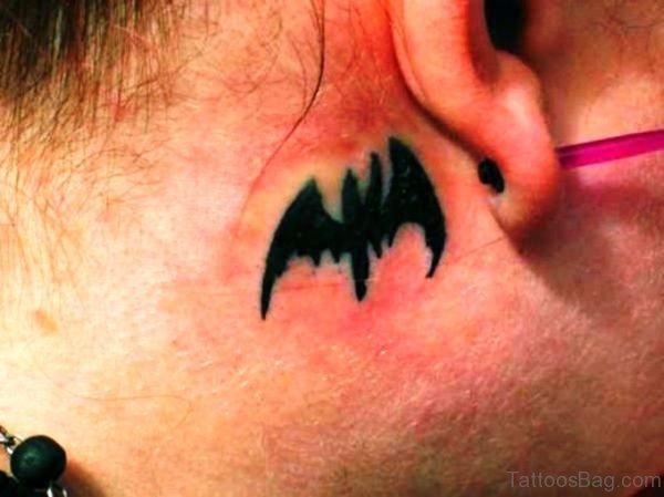 Fabulous Bat Tattoo Behind Ears