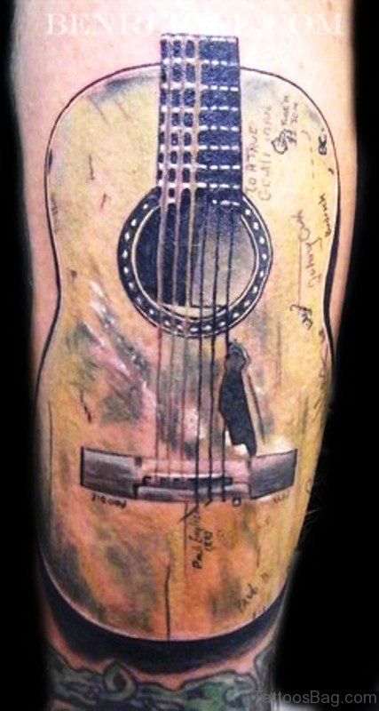 Fabulous Big Guitar Tattoo On Forearm
