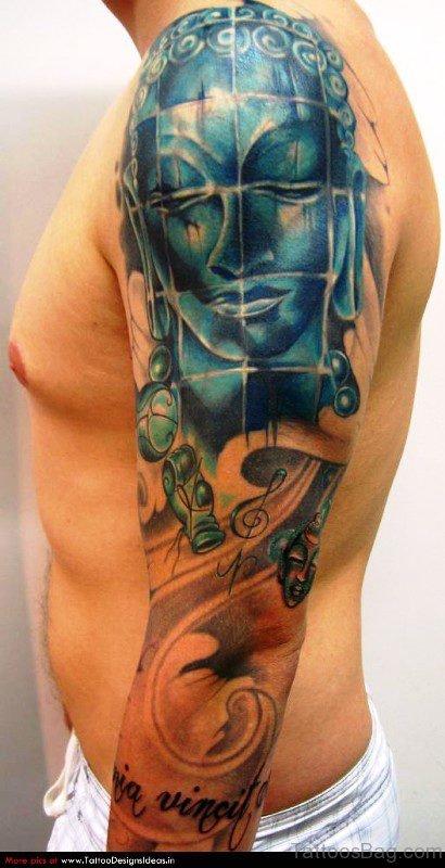 Fabulous Blue Buddha Tattoo On Sleeve