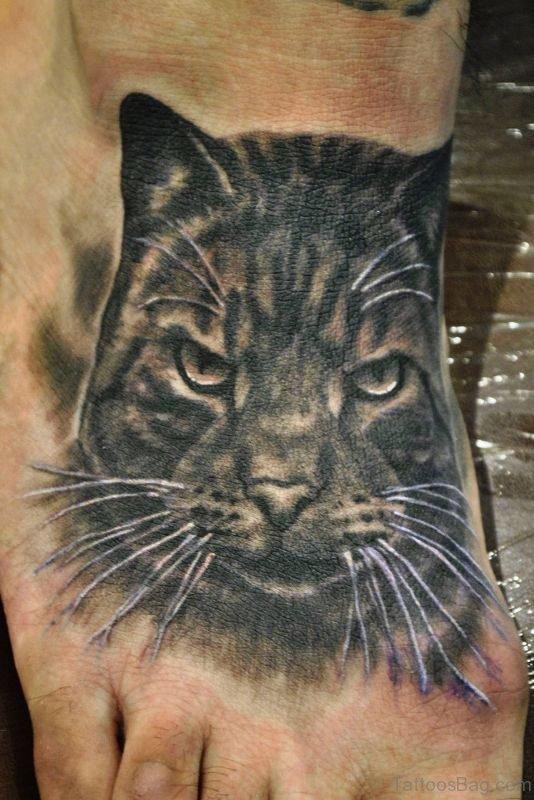 Fabulous Cat Tattoo On Foot