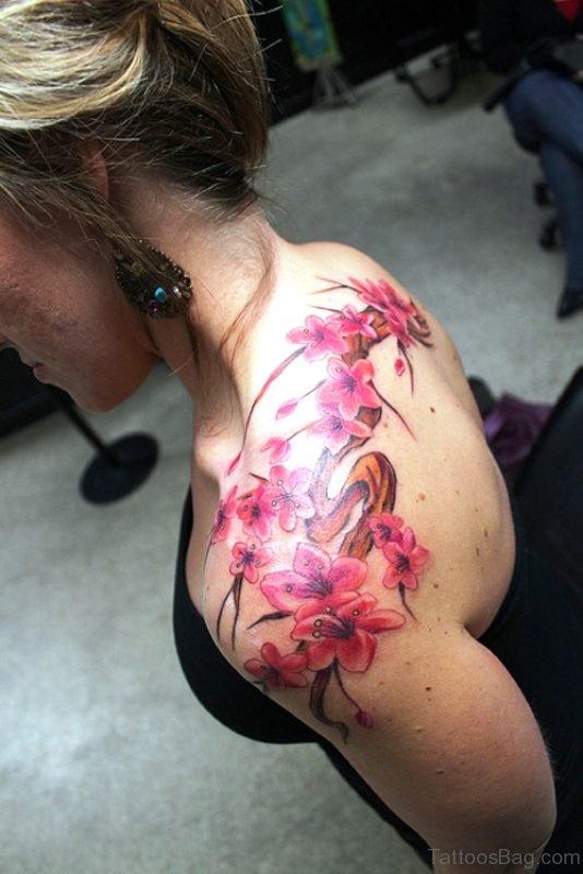 Fabulous Cherry Blossom Flowers On Upper Shoulder