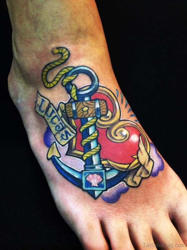 Fabulous Colorful Anchor Tattoo On Foot