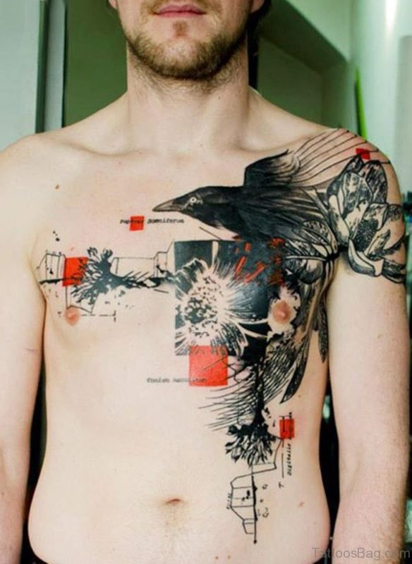 Fabulous Crow Tattoo On Chest