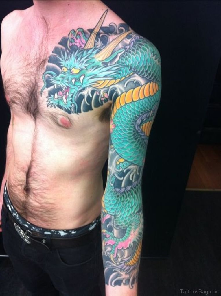 52 magnificent dragon tattoos on full sleeve for How to make a tattoo sleeve