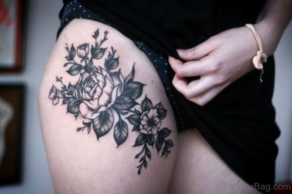 Fabulous Flower Tattoo On Thigh