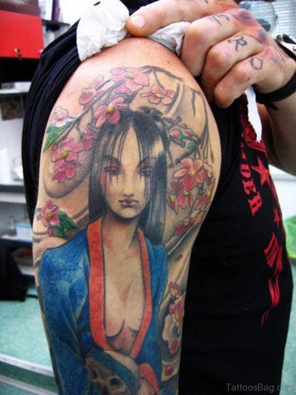 Fabulous Geisha Tattoo On Shoulder