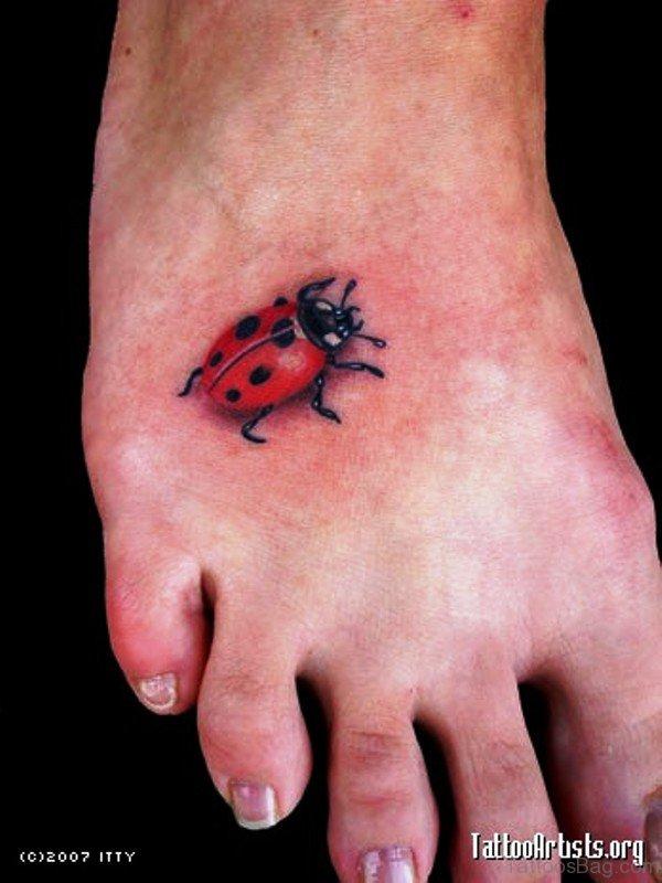 Fabulous Ladybug Tattoo On Foot