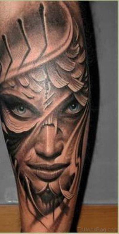 Fabulous Latino Portrait Tattoo On Leg