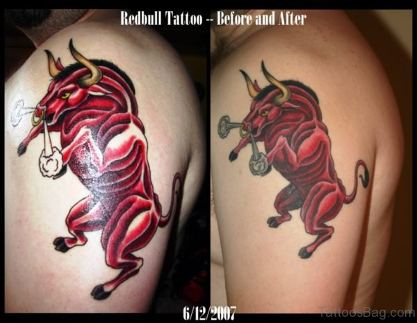 Fabulous Red Bull Tattoo On Shoulder