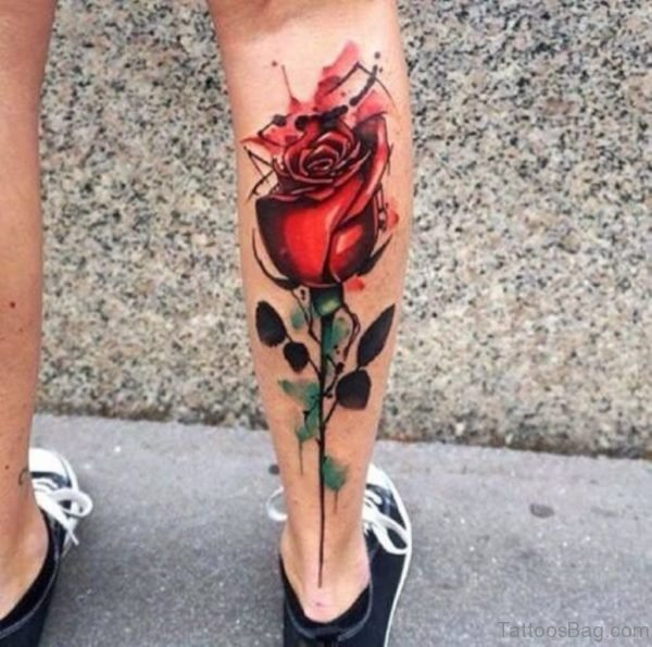 Fabulous Rose Tattoo On Leg