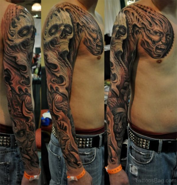 Fabulous Skull Tattoo On Full Sleeve
